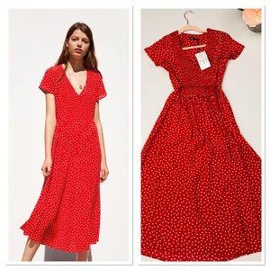 Zara Polka Dot midi dress v-neck smocked dress